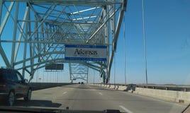 Arkansas state line. Roadtrip sites to see Stock Photo