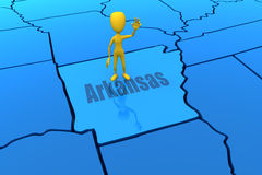 Arkansas state outline with yellow stick figure Royalty Free Stock Photography
