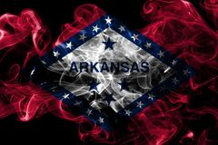 Arkansas state smoke flag, United States Of America. On a black background royalty free stock image