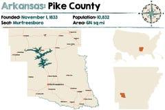 Arkansas, szczupaka okręg administracyjny mapa Zdjęcie Royalty Free