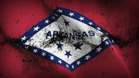Arkansas US State grunge dirty flag waving on wind. United States of America Arkansas background fullscreen grease flag blowing on wind. Realistic filth fabric Stock Photography