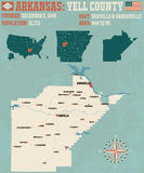Arkansas: Yell county map. Large and detailed map of Yell County in Arkansas Stock Photo