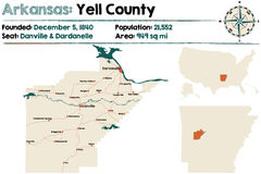 Arkansas - Yell county map Royalty Free Stock Images