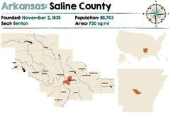 Arkansas, Zasolona mapa okręg administracyjny Zdjęcie Stock