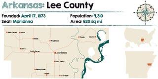 Arkansas, Zawietrzna mapa okręg administracyjny Zdjęcia Royalty Free