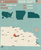 Arkansas: Zrzeszeniowa okręg administracyjny mapa Fotografia Royalty Free