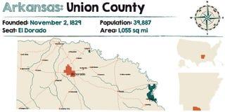 Arkansas: Zrzeszeniowa okręg administracyjny mapa Obraz Stock