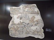 Arkeologi-fragment roman mosaik-Malaga arkivbild