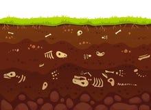 Arkeologiben i jordlager Begravde fossil- djur, det skelett- benet för dinosaurie i smuts och tunnelbanalera varvar vektorn royaltyfri illustrationer
