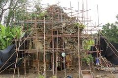 Arkeologiplats, buddist Chedi Arkivbild