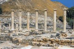 Arkeologisk plats, Beit Shean, Israel Arkivbilder