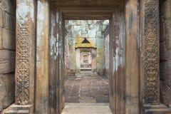 Arkeologisk plats för en khmer av Prasat Muang Tam i det Buriram landskapet, Thailand Arkivfoton