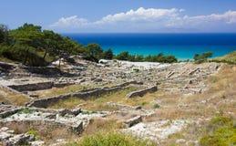 Arkeologisk plats i Rhodes, Grekland Arkivbilder