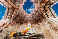 Arkeologisk plats på Ayutthaya arkivfoto