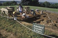 Arkeologisk utgrävning som är pågående på Mt Vernon hem av George Washington, Alexandria, Virginia Royaltyfri Fotografi
