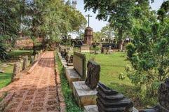 Arkeologiska museumkulturföremål i gamla Goa, Indien royaltyfri bild