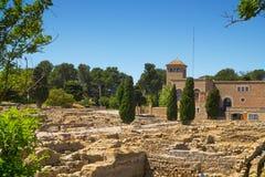 Arkeologiska rest för gammalgrekiska av Empuries, i La Escala, Arkivbild