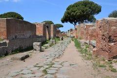 Arkeologiska utgrävningar av Ostia Antica, Rome Italien Arkivbild