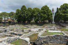 Arkeologiska utgrävningar i Aquileia Arkivbild