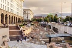 Arkeologiska utgrävningar i mitten av staden av Sofia, Bulgarien Royaltyfria Foton
