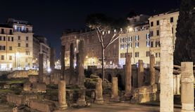 Arkeologiskt område av Largo Argentina i Rome Royaltyfri Foto