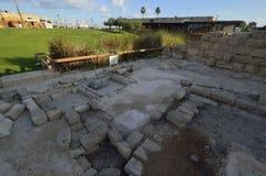 Arkeologiskt parkera av Caesarea Arkivbild