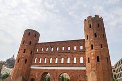 Arkeologiskt parkera med Palatine torn, Turin arkivbild