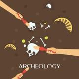 Arkeologivetenskap Forntida fossil Upptäckt av en tillbringare, forntida kulturföremål för skattjägare stock illustrationer