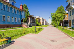 Arkhangelsk, Rusia Avenida Chumbarova-Lucinschi de la visión Foto de archivo libre de regalías