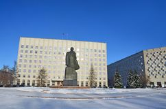 Arkhangelsk, Russia, February, 20, 2018. Monument to Lenin and the building of the regional Assembly of deputies in winter in Ark. Arkhangelsk, Russia. Monument stock photography