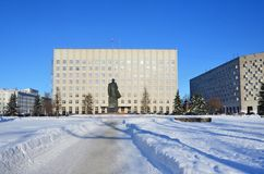 Arkhangelsk, Russia, February, 20, 2018. Monument to Lenin and the building of the regional Assembly of deputies in winter in Ark. Arkhangelsk, Russia. Monument royalty free stock photo