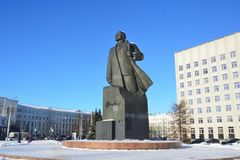 Arkhangelsk, Russia, February, 20, 2018. Monument to Lenin and the building of the regional Assembly of deputies in winter in Ark. Arkhangelsk, Russi royalty free stock photo