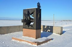 Arkhangelsk, Russia, February, 20, 2018. Nobody, monument to participants of The Northern convoys in winter. Arkhangelsk. Arkhangelsk, Russia,  monument to Royalty Free Stock Image