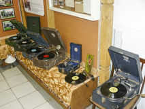 Old record players of vinyl discs. The gramophones and gramophones in the box. Royalty Free Stock Photography