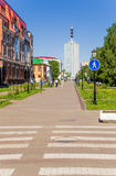 Arkhangelsk, Russia. Pedestrian street of the old town Chumbarova-Lucinschi Royalty Free Stock Photo