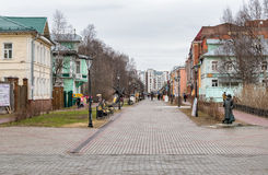 Pedestrian Chumbarova-Luchinskogo Avenue in Arkhangelsk, Russia. Arkhangelsk, Russian Federation - May 24, 2017: Pedestrian Chumbarova-Luchinskogo Avenue, an Stock Photography