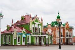 Arkhangelskaya Sloboda, piękny, zielony dom, budujący w Flamandzkim stylu Republika Mari El, Ola, Rosja 05/21/20 Zdjęcie Royalty Free