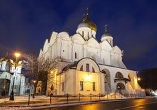 Arkhangelsky katedra Moskwa Kremlin w zima wieczór, Zdjęcia Stock