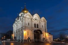 Arkhangelsky katedra Moskwa Kremlin w zima wieczór Zdjęcia Royalty Free