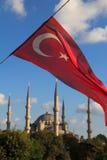 arkif błękitny ersoy flaga Istanbul m meczetu parka sultanahment indyczy turecki widok Arkif Ersoy Sultanahment Obraz Stock