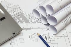 Arkitekt Drawings Arkivfoto