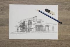 Arkitekt Home Sketch Royaltyfria Bilder