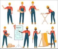 Arkitekt- och konstruktionsbyggmästarearbetare Väg-och vattenbyggnadsingenjör Isolerad manlig och kvinnlig uppsättning för konstr royaltyfri illustrationer