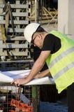 Arkitekt på konstruktionsplats. Arkivfoto