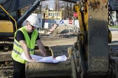 Arkitekt på konstruktionsplats Arkivfoto