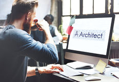 ArkitektArchitecture Compass Construction begrepp Arkivfoto