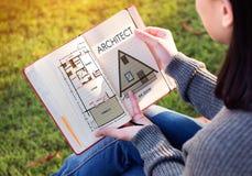 ArkitektArchitecture Design Infrastructure konstruktion Concep royaltyfri bild