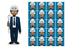 Arkitekten Black Cartoon Emotion vänder mot vektorillustrationen Royaltyfri Bild