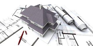 arkitekten houses plan s Royaltyfri Fotografi