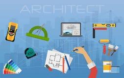 Arkitektkonstruktionsplanläggning och skapaprocess arkitektoniskt projekt, bästa sikt för tekniskt begrepp stock illustrationer